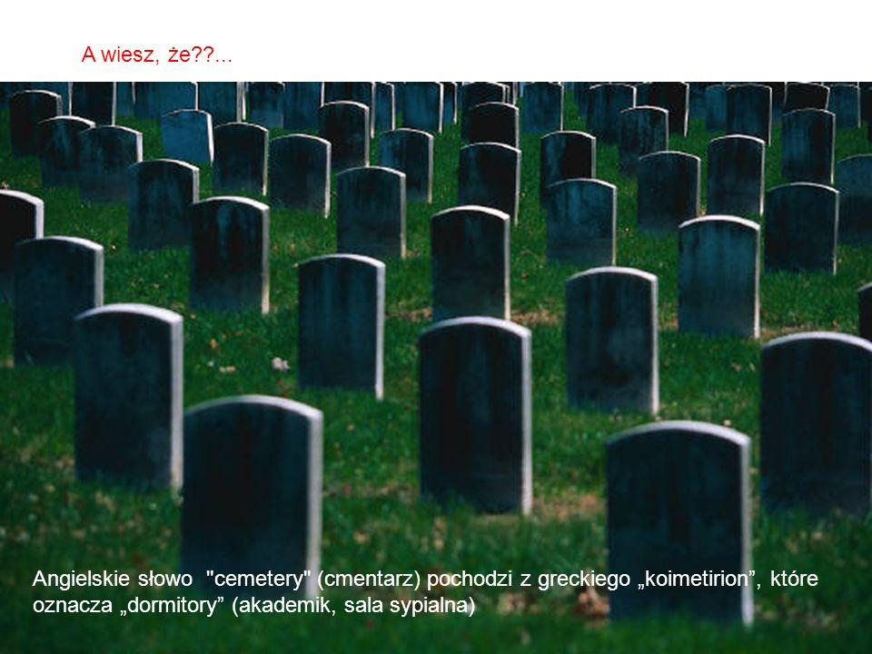 """A wiesz, że ... Angielskie słowo cemetery (cmentarz) pochodzi z greckiego """"koimetirion , które."""