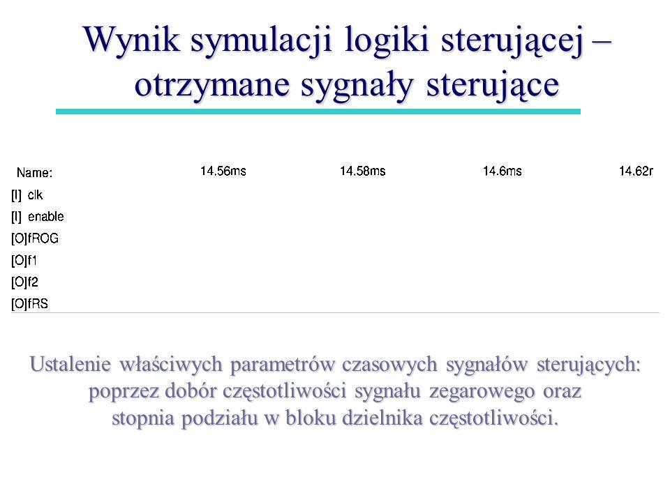 Wynik symulacji logiki sterującej – otrzymane sygnały sterujące
