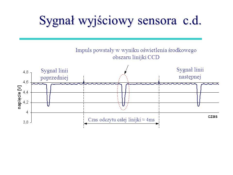 Sygnał wyjściowy sensora c.d.