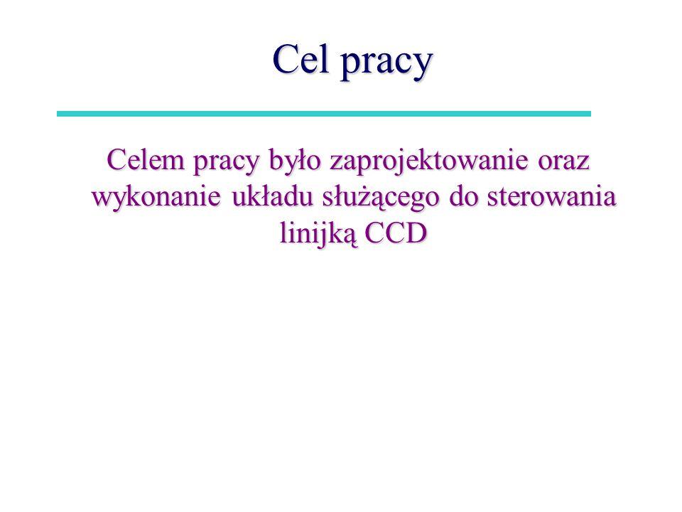 Cel pracy Celem pracy było zaprojektowanie oraz wykonanie układu służącego do sterowania linijką CCD.