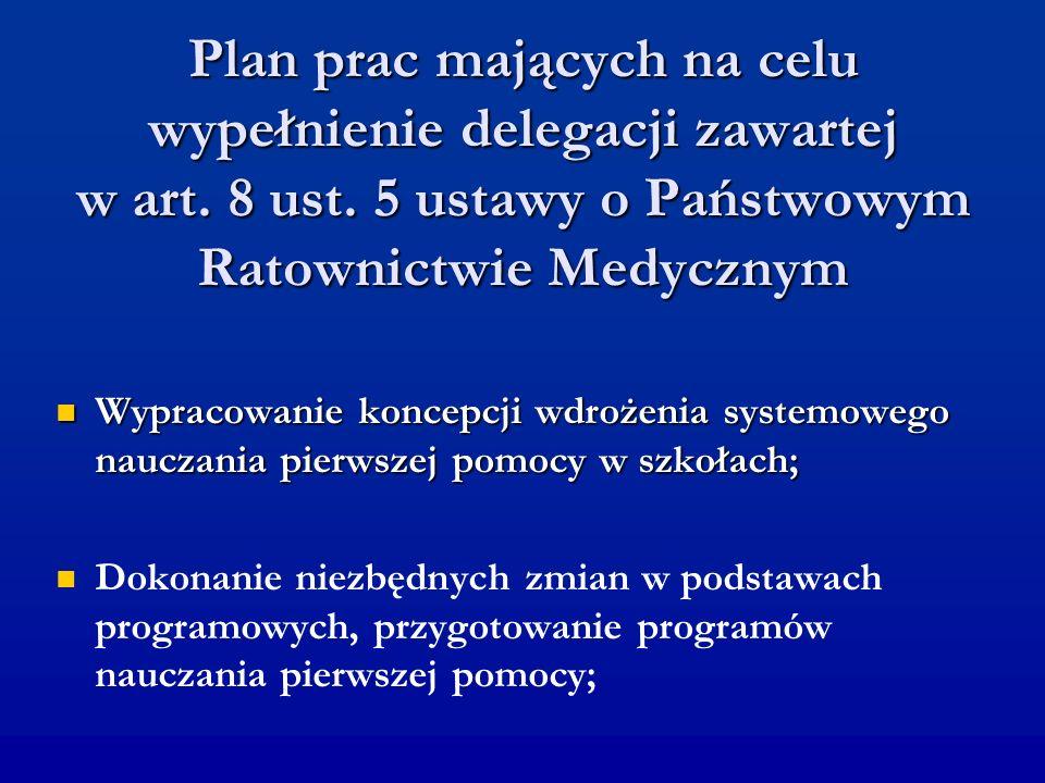Plan prac mających na celu wypełnienie delegacji zawartej w art. 8 ust