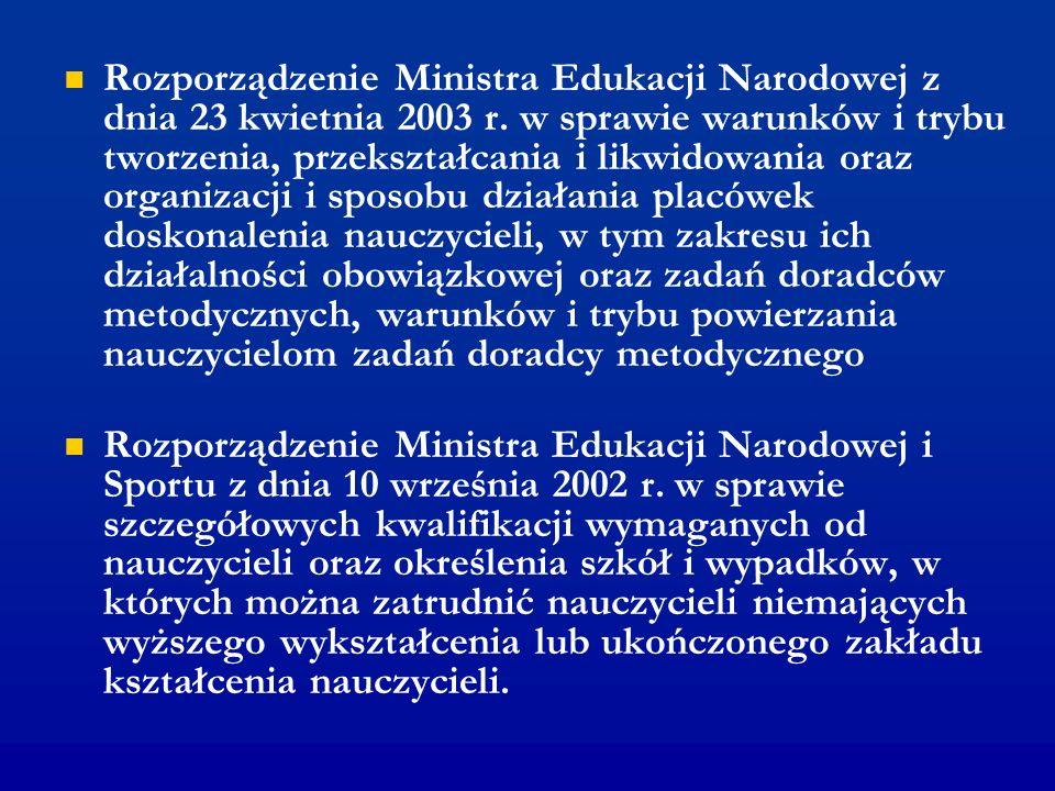 Rozporządzenie Ministra Edukacji Narodowej z dnia 23 kwietnia 2003 r