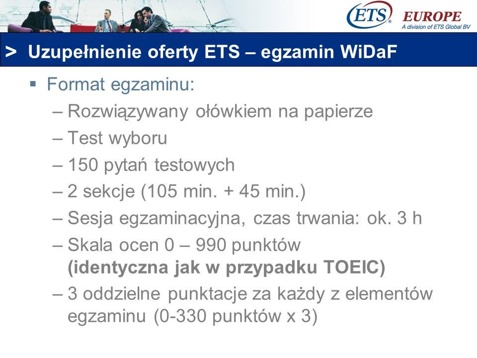Uzupełnienie oferty ETS – egzamin WiDaF