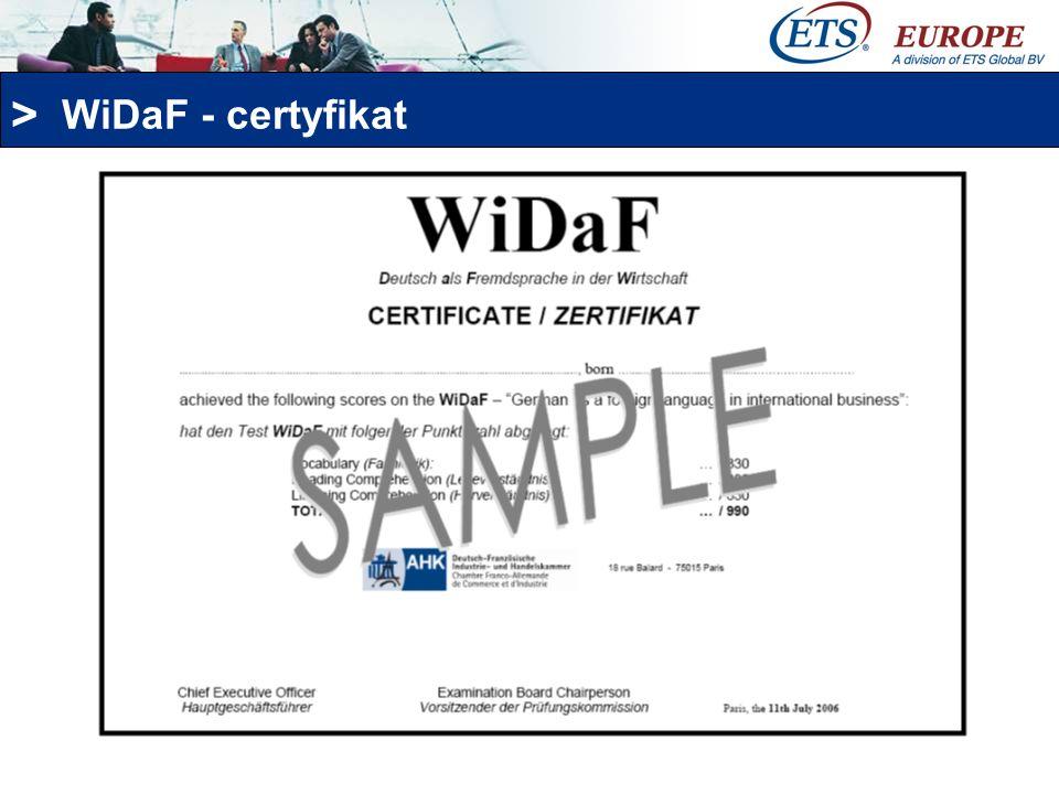 WiDaF - certyfikat