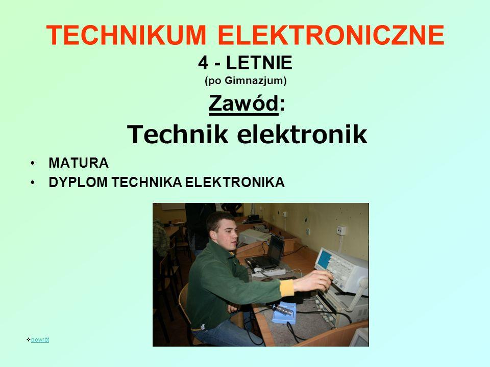 TECHNIKUM ELEKTRONICZNE 4 - LETNIE (po Gimnazjum)