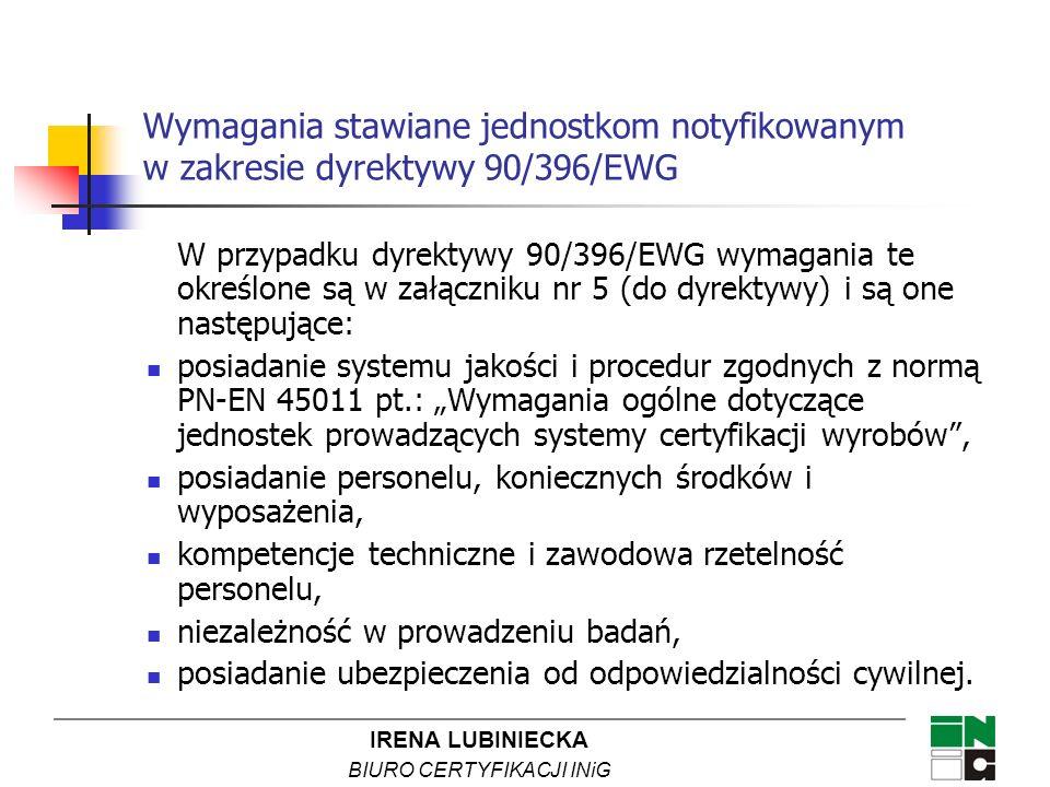 Wymagania stawiane jednostkom notyfikowanym w zakresie dyrektywy 90/396/EWG