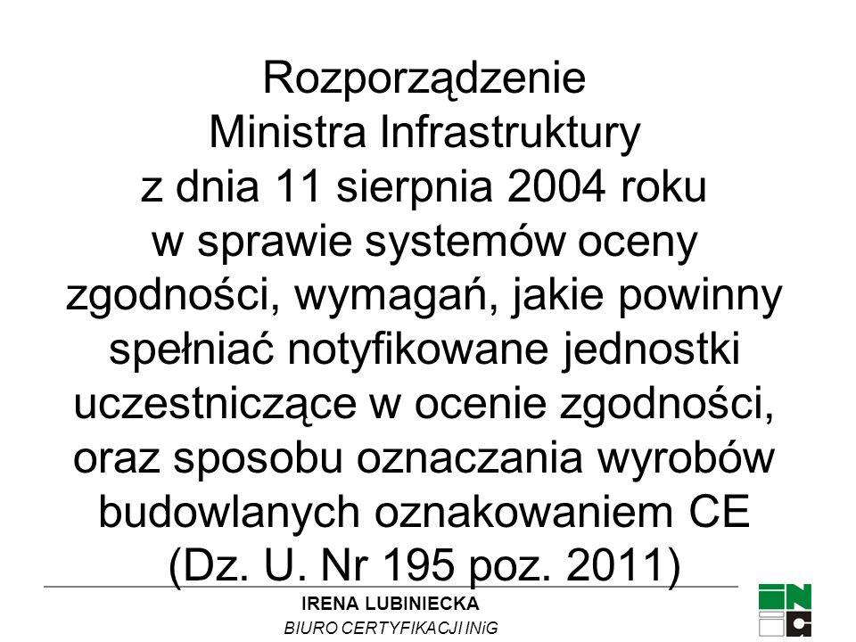 Rozporządzenie Ministra Infrastruktury z dnia 11 sierpnia 2004 roku w sprawie systemów oceny zgodności, wymagań, jakie powinny spełniać notyfikowane jednostki uczestniczące w ocenie zgodności, oraz sposobu oznaczania wyrobów budowlanych oznakowaniem CE (Dz.