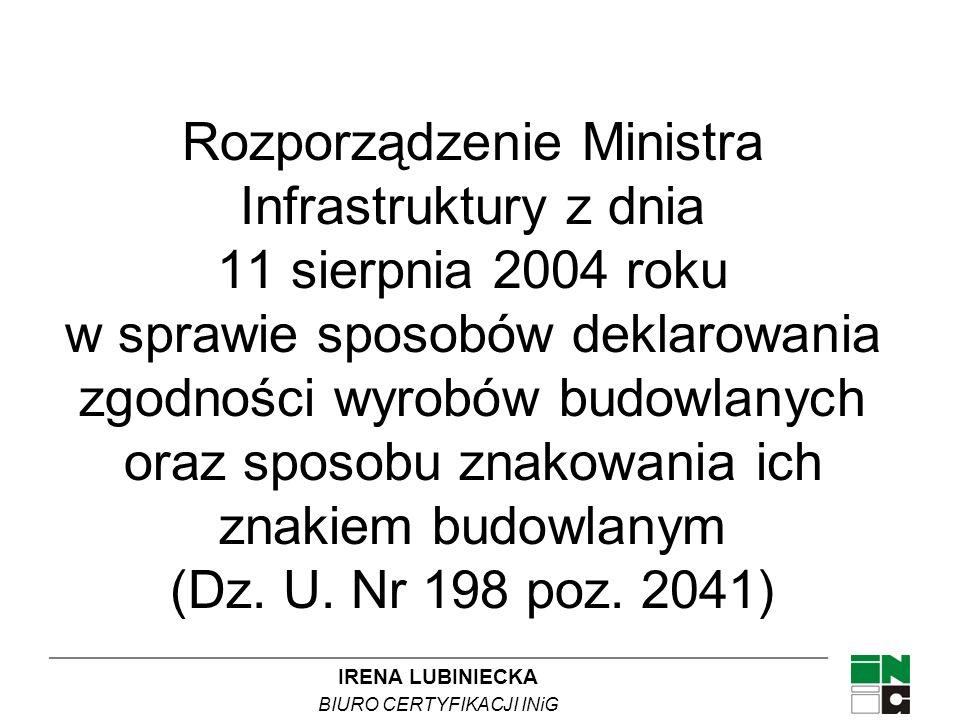 Rozporządzenie Ministra Infrastruktury z dnia 11 sierpnia 2004 roku w sprawie sposobów deklarowania zgodności wyrobów budowlanych oraz sposobu znakowania ich znakiem budowlanym (Dz.