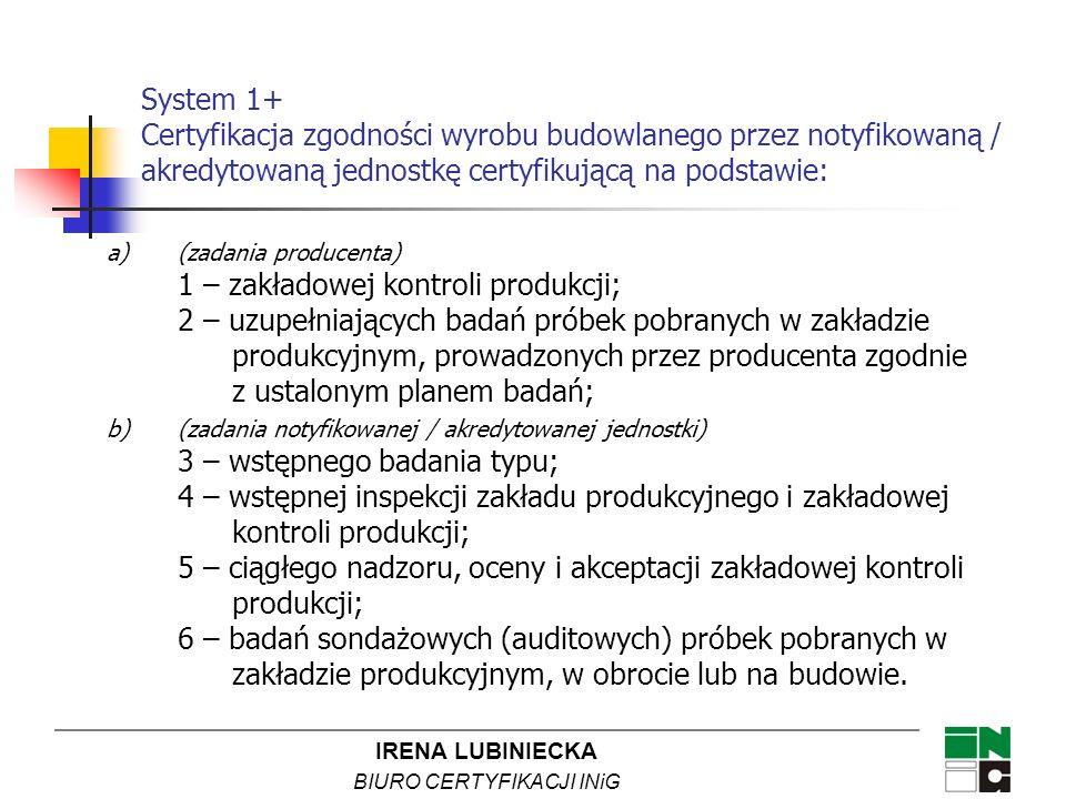 System 1+ Certyfikacja zgodności wyrobu budowlanego przez notyfikowaną / akredytowaną jednostkę certyfikującą na podstawie: