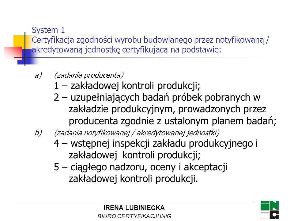 System 1 Certyfikacja zgodności wyrobu budowlanego przez notyfikowaną / akredytowaną jednostkę certyfikującą na podstawie:
