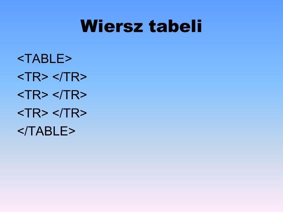 Wiersz tabeli <TABLE> <TR> </TR> </TABLE>