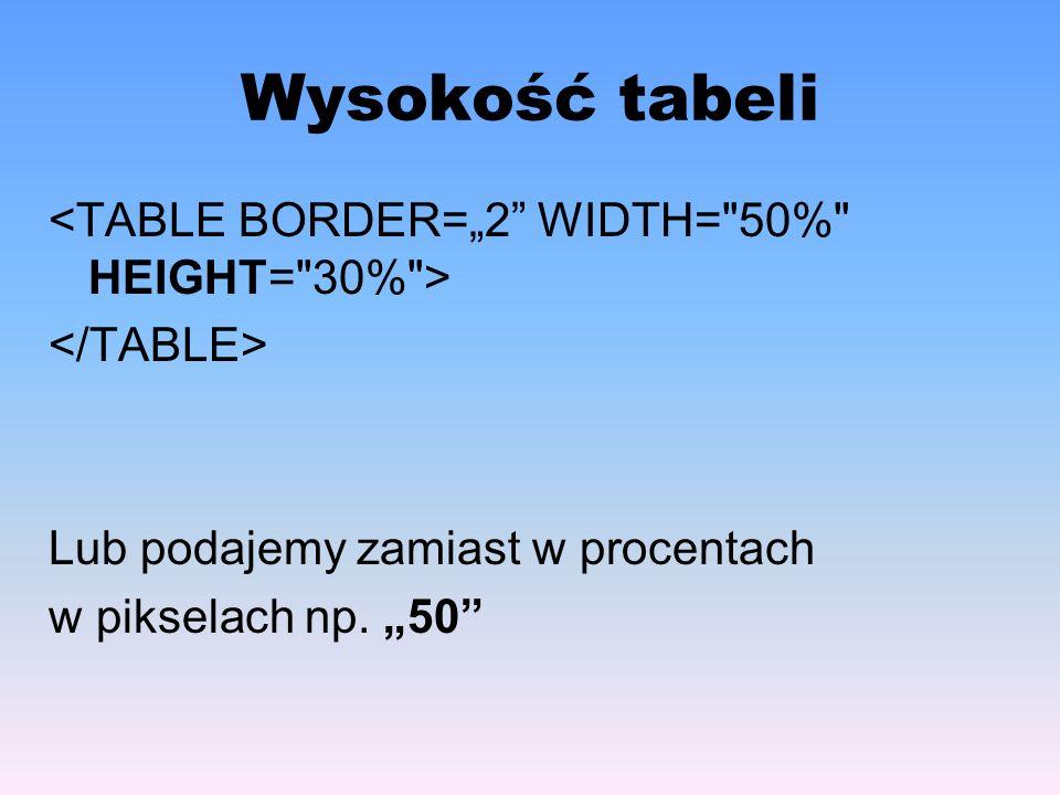 "Wysokość tabeli <TABLE BORDER=""2 WIDTH= 50% HEIGHT= 30% >"