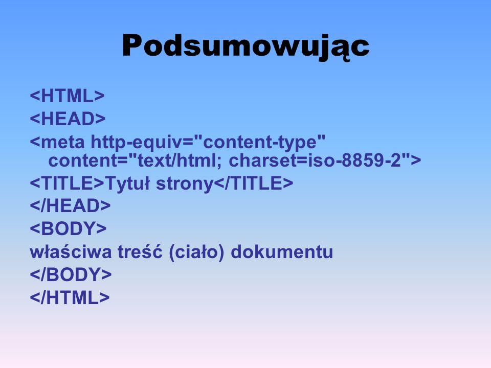 Podsumowując <HTML> <HEAD>