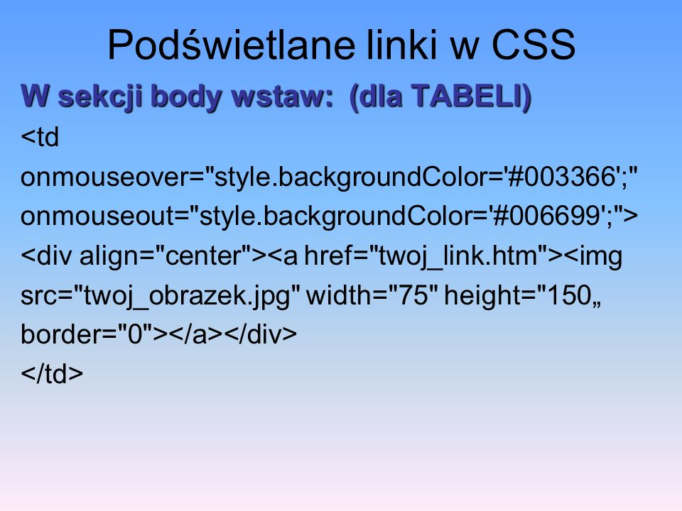 Podświetlane linki w CSS