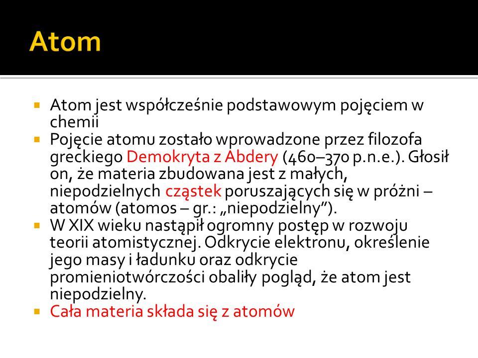 Atom Atom jest współcześnie podstawowym pojęciem w chemii
