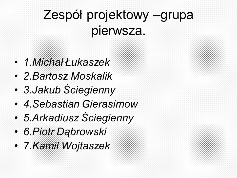 Zespół projektowy –grupa pierwsza.