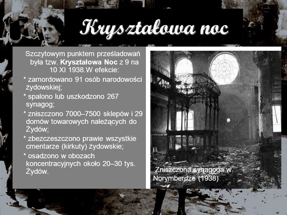 Kryształowa noc Szczytowym punktem prześladowań była tzw. Kryształowa Noc z 9 na 10 XI 1938.W efekcie: