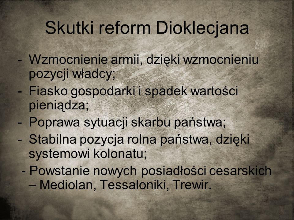 Skutki reform Dioklecjana