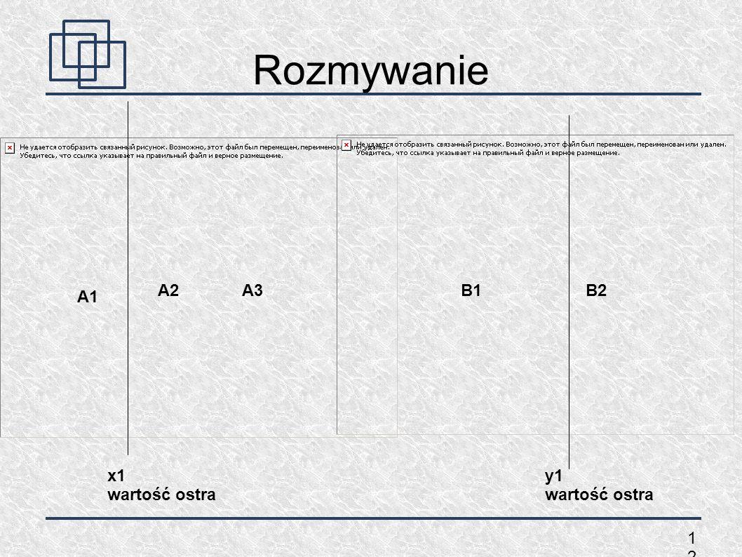 Rozmywanie A2 A3 B1 B2 A1 x1 wartość ostra y1 wartość ostra