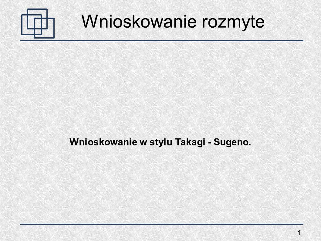 Wnioskowanie w stylu Takagi - Sugeno.
