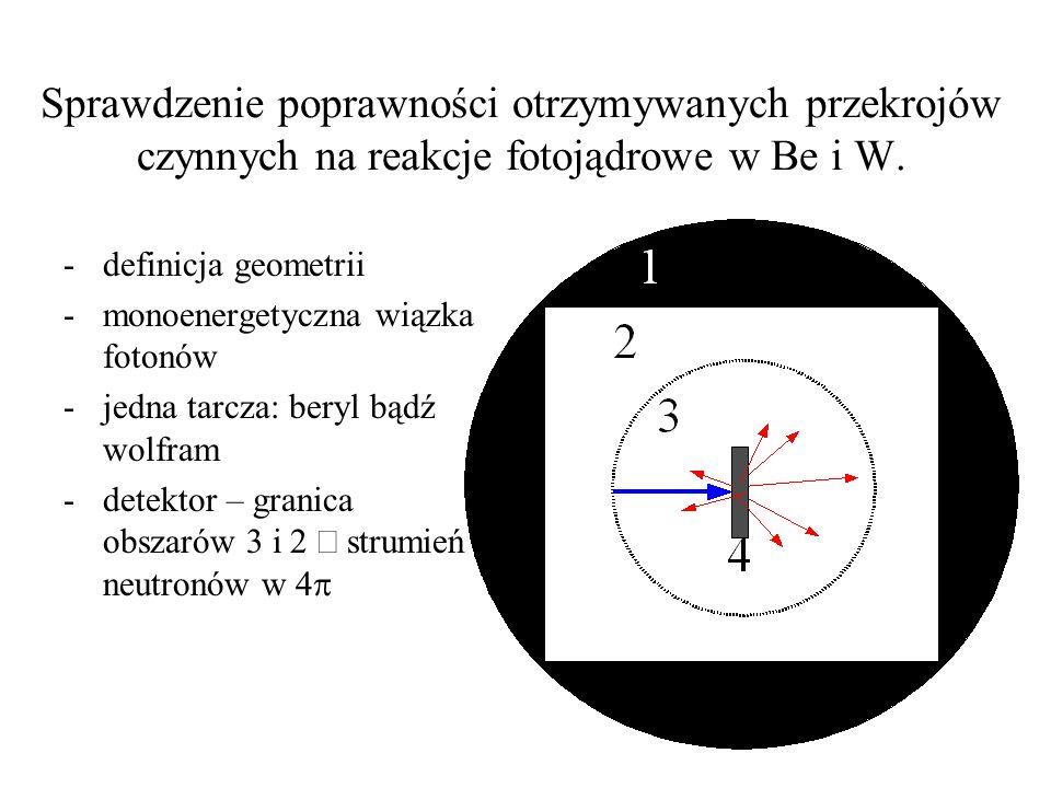 Sprawdzenie poprawności otrzymywanych przekrojów czynnych na reakcje fotojądrowe w Be i W.