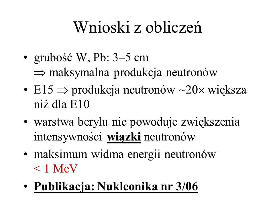 Wnioski z obliczeń grubość W, Pb: 3–5 cm  maksymalna produkcja neutronów. E15  produkcja neutronów ~20 większa niż dla E10.