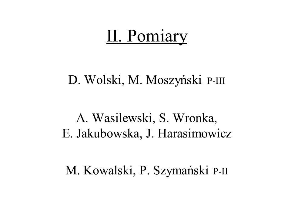 II. Pomiary D. Wolski, M. Moszyński P-III A. Wasilewski, S. Wronka, E