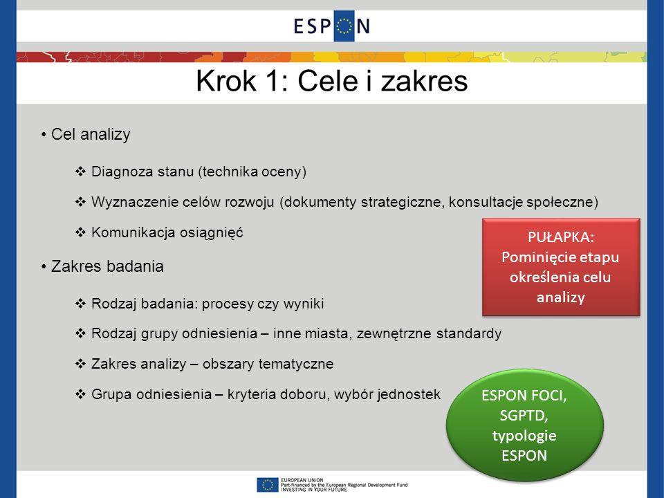 Krok 1: Cele i zakres Cel analizy Zakres badania PUŁAPKA: