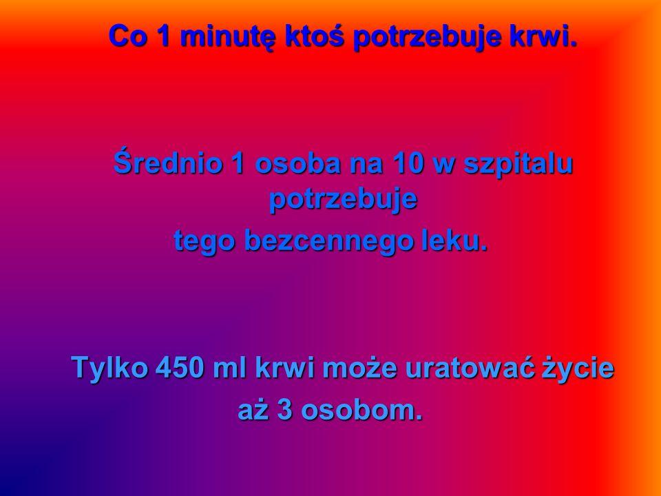 Co 1 minutę ktoś potrzebuje krwi.