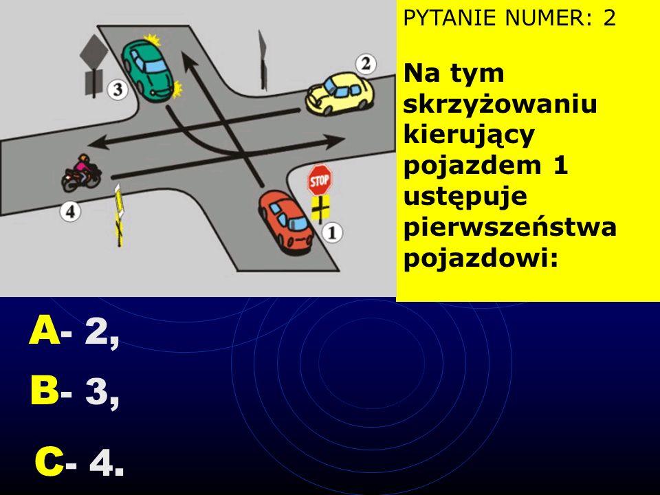 PYTANIE NUMER: 2 Na tym skrzyżowaniu kierujący pojazdem 1 ustępuje pierwszeństwa
