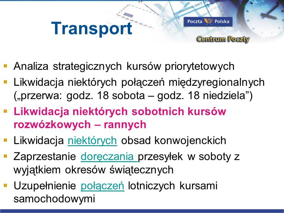 Transport Analiza strategicznych kursów priorytetowych