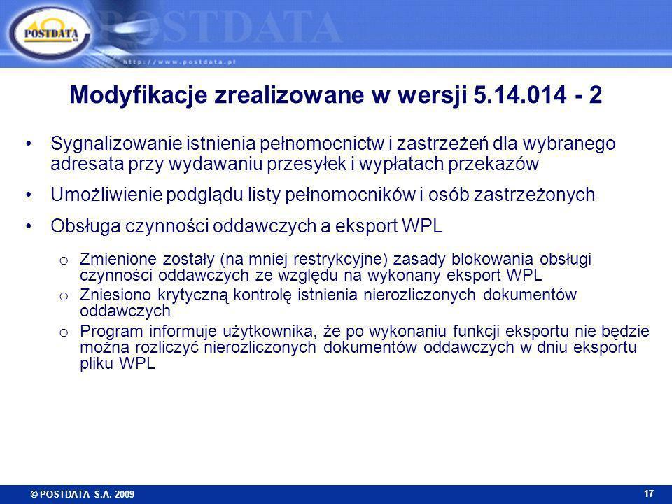 Modyfikacje zrealizowane w wersji 5.14.014 - 2
