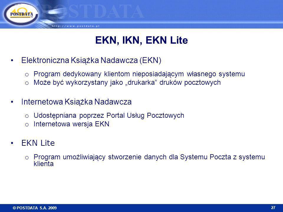 EKN, IKN, EKN Lite Elektroniczna Książka Nadawcza (EKN)