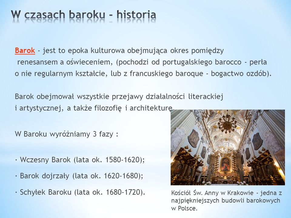 W czasach baroku - historia