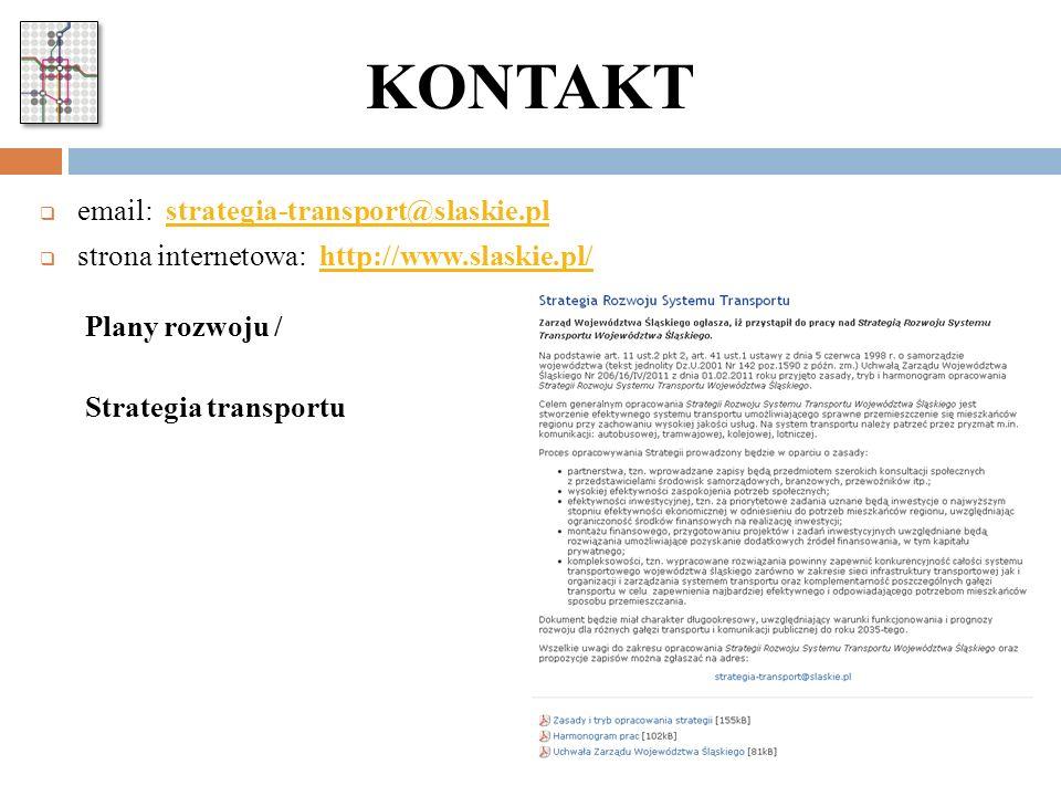 KONTAKT email: strategia-transport@slaskie.pl