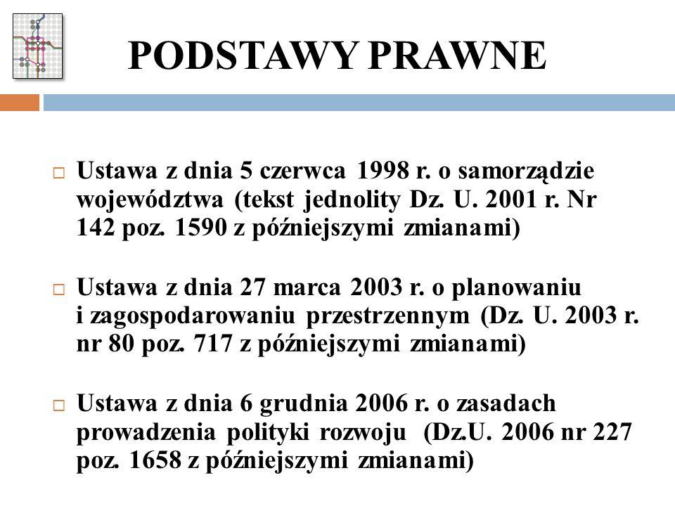 PODSTAWY PRAWNE Ustawa z dnia 5 czerwca 1998 r. o samorządzie województwa (tekst jednolity Dz. U. 2001 r. Nr 142 poz. 1590 z późniejszymi zmianami)