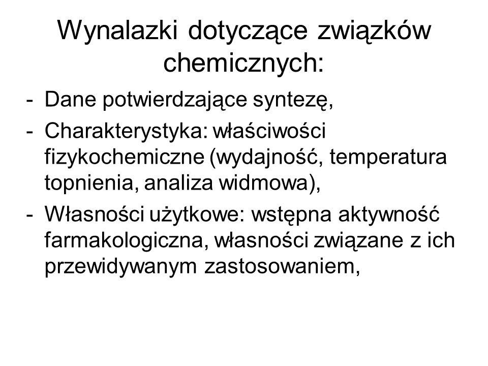 Wynalazki dotyczące związków chemicznych: