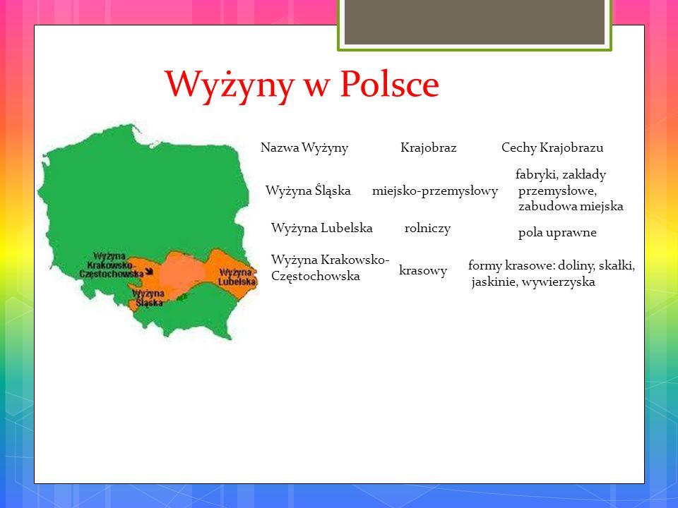 Wyżyny w Polsce Nazwa Wyżyny Krajobraz Cechy Krajobrazu