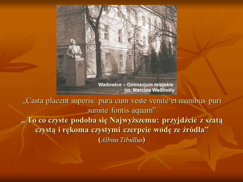 """""""Casta placent superis: pura cum veste venite et manibus puri sumite fontis aquam """" To co czyste podoba się Najwyższemu: przyjdźcie z szatą czystą i rękoma czystymi czerpcie wodę ze źródła (Albius Tibullus)"""