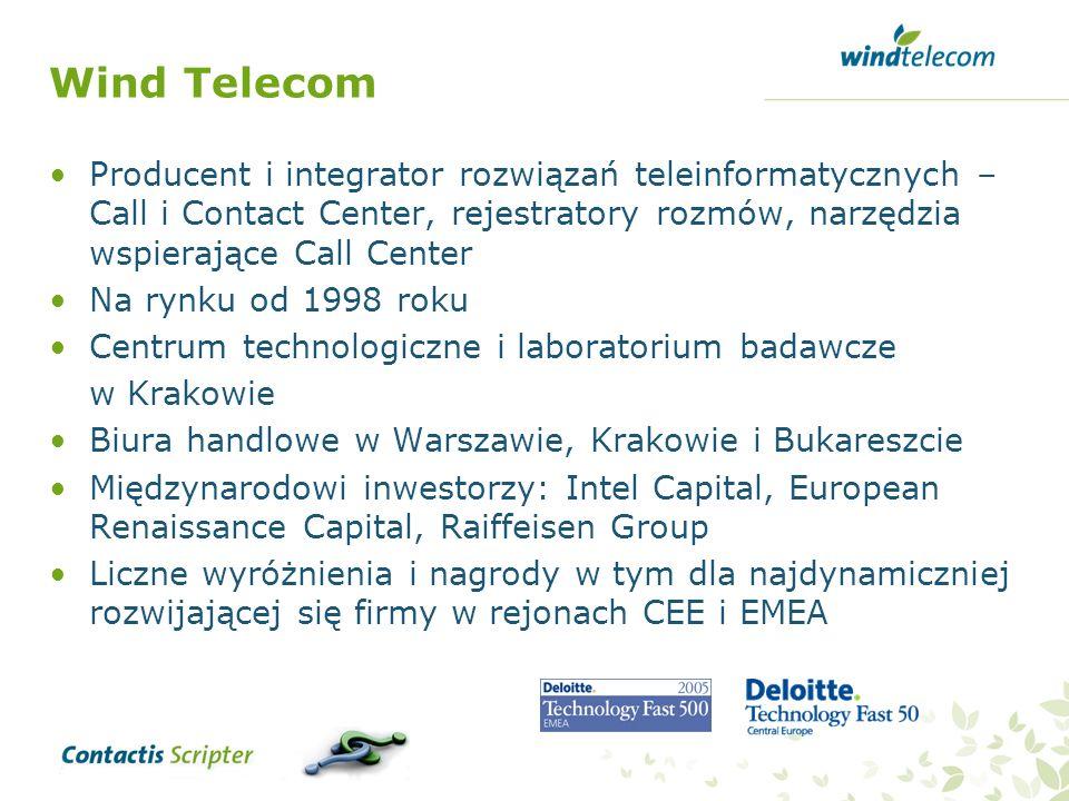 Wind Telecom Producent i integrator rozwiązań teleinformatycznych – Call i Contact Center, rejestratory rozmów, narzędzia wspierające Call Center.