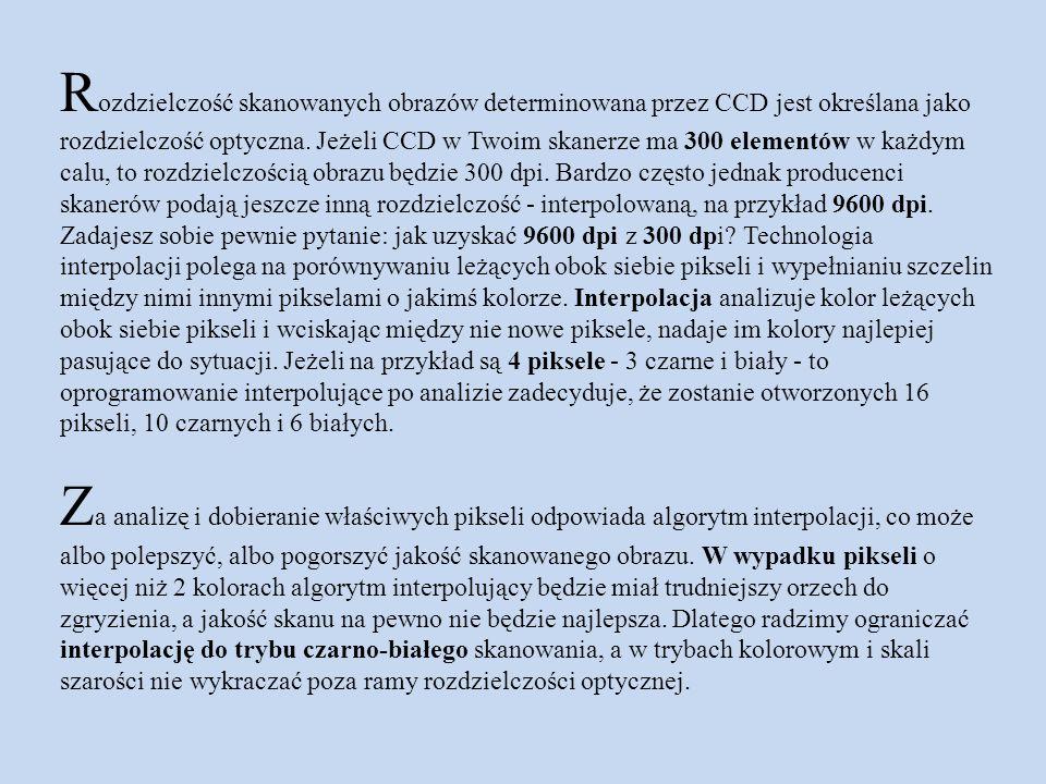 Rozdzielczość skanowanych obrazów determinowana przez CCD jest określana jako rozdzielczość optyczna.