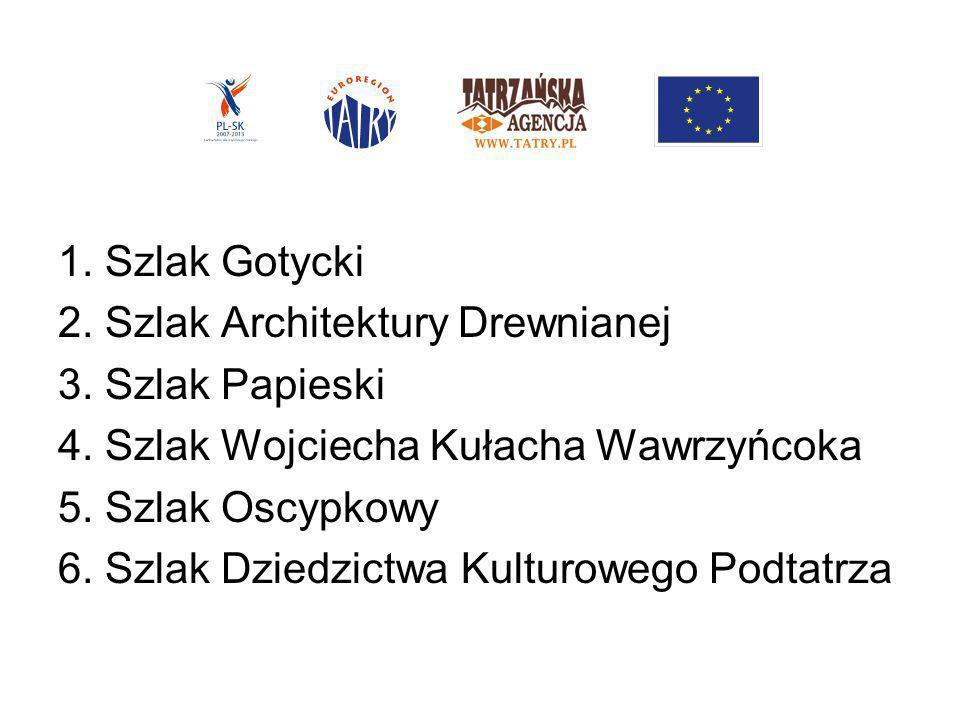1. Szlak Gotycki2. Szlak Architektury Drewnianej. 3. Szlak Papieski. 4. Szlak Wojciecha Kułacha Wawrzyńcoka.