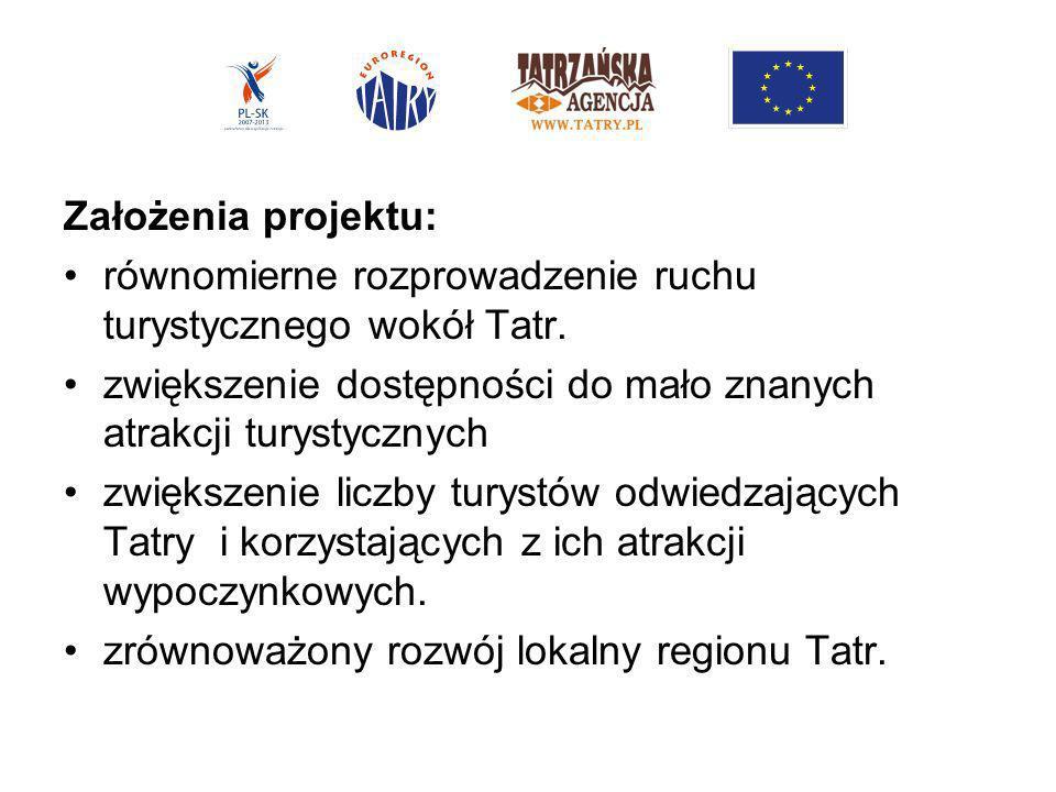 Założenia projektu:równomierne rozprowadzenie ruchu turystycznego wokół Tatr. zwiększenie dostępności do mało znanych atrakcji turystycznych.