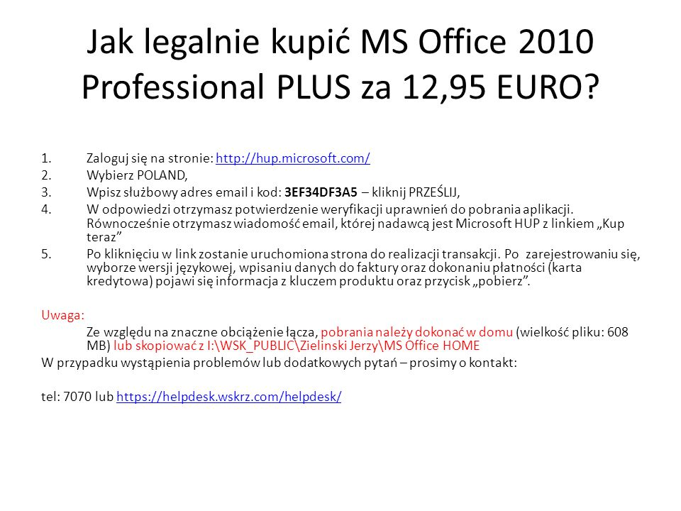Jak legalnie kupić MS Office 2010 Professional PLUS za 12,95 EURO