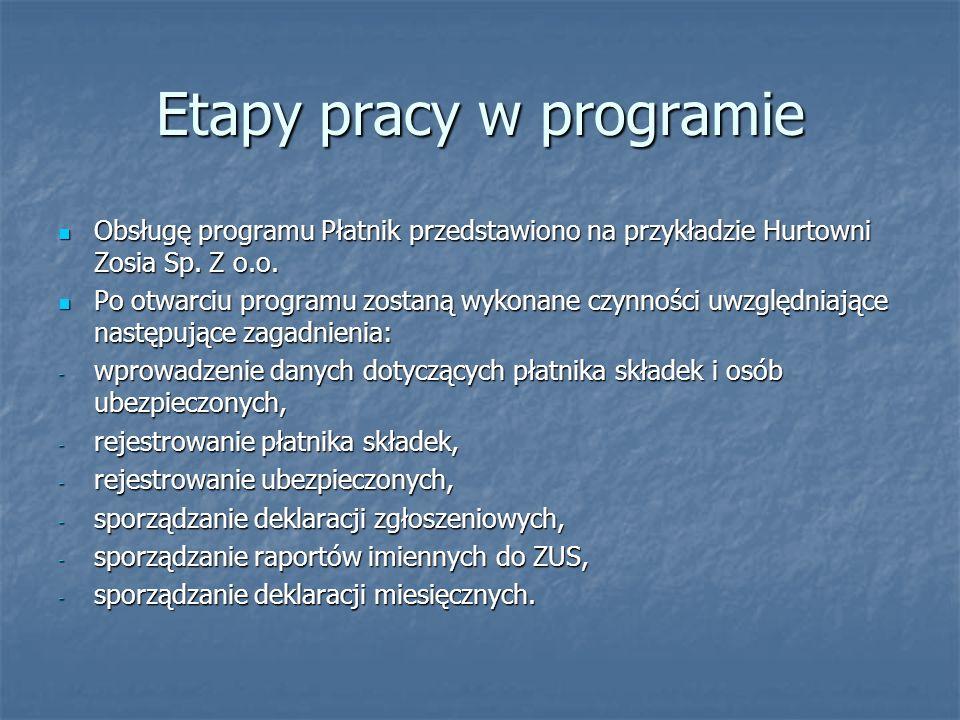 Etapy pracy w programie