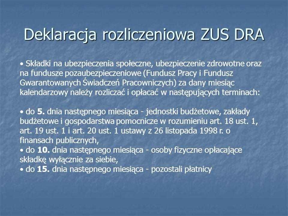 Deklaracja rozliczeniowa ZUS DRA