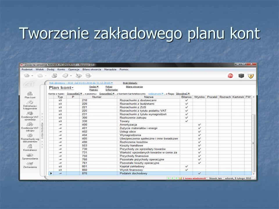Tworzenie zakładowego planu kont