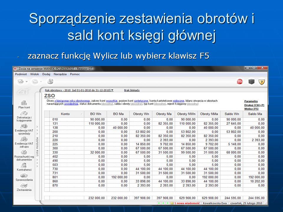 Sporządzenie zestawienia obrotów i sald kont księgi głównej