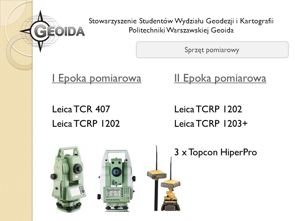 I Epoka pomiarowa II Epoka pomiarowa Leica TCR 407 Leica TCRP 1202