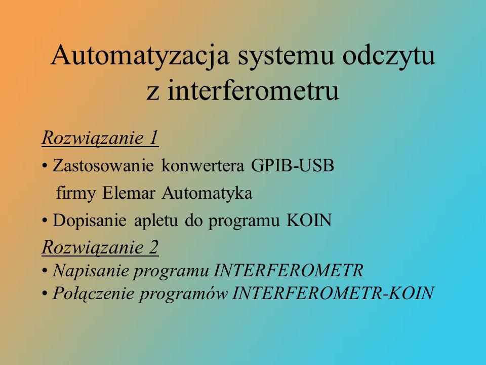 Automatyzacja systemu odczytu z interferometru